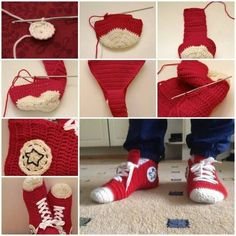 You'll be head over heels for this Crochet Converse Slippers Free Pattern and we have lots of inspiration plus a video tutorial to show you how. Diy Crochet, Crochet Crafts, Yarn Crafts, Crochet Baby, Crochet Projects, Diy Projects, Diy Crafts, Converse Slippers, Baby Converse