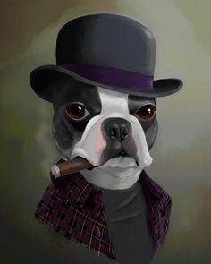 The Bowler Hat - Boston Terrier Art Print by Brian Rubenacker: