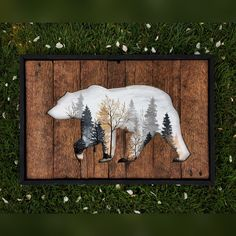 A beautiful piece created on reclaimed wood of a bear and within the cutout is a foggy Autumn morning. And to bring it all together, a crisp black frame. Available in 10x14 or 16x24