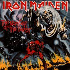 The Number of the Beast | Iron Maiden  Em outra arte histórica de Derek Riggs, Eddie controla o demônio, que controla um boneco parecido com o personagem.
