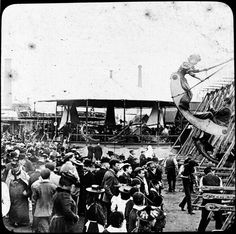Fairground ride and crowd