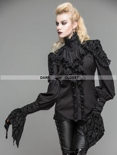 Devil Fashion Black Gothic Long Sleeves Ruffles Shirt for Women