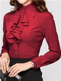 ericdress cuello elegante stand de la blusa de un solo pecho Hijab Fashion, Korean Fashion, Fashion Dresses, Casual Work Outfits, Professional Outfits, Camisa Formal, Indian Designer Outfits, Couture Tops, Hippie Outfits