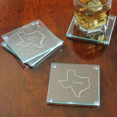 This would be a great gift (Texas coasters) Home State Glass Coasters - State Crafts, Texas Gifts, Concept Home, Beer Mugs, Glass Coasters, Coaster Furniture, Groomsman Gifts, Bride Gifts, Coaster Set