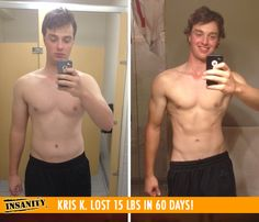 "Kris K. lost 15 lbs in 60 days with Insanity!    ""I love the speed, intensity and athletic movements of Insanity. Shaun T makes you feel good about yourself while being tough on you. Everyone was shocked at how quickly my body transformed!"""