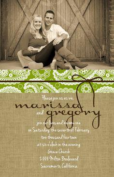 Custom Photo Paisley and Burlap Wedding Invitations.