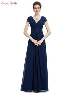 cbb2606c94  Clearance Sale  Prom Dresses 2017 Ever Pretty HE08467SB Women Sexy V-Neck  Ruched Empire Appliques Long Blue Prom Dresses
