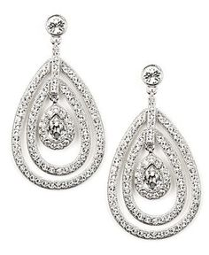 Givenchy Earrings, Silver Tone Crystal Orbital Drop Earrings