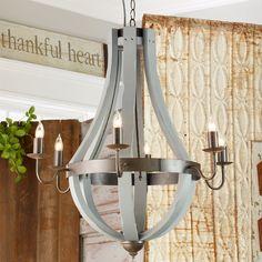 Wooden wine barrel stave chandelier barrels chandeliers and lights wooden wine barrel stave chandelier gray mozeypictures Gallery