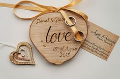 Love this Wedding Ring Plaque on a woodslice for a rustic wedding