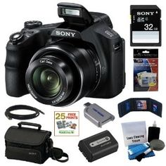 Sony Cyber-shot DSC-HX200V 18.2MP Exmor R CMOS Digital Camera with 30x Optical Zoom and 3.0-inch LCD   Sony 32GB SD Card   Sony Case   Replacement Battery Pack   Mini HDMI Cable   Accessory Kit