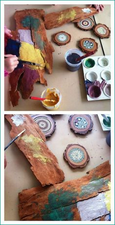 Trees study-    Paint bark or discs of tree trunks. Let them paint two, one to take home and another to create a collage and display.