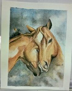 Watercolor horses. Suluboya Atla Aşık Atlar.