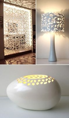 Perforations (cutouts) – Lighting, screens, wall art, furnishings, jeweler, and laser cut fashions, layering.