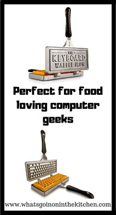 This awesome keyboard waffle make can fire off waffles, hash browns, paninis and more. Perfect for the food loving computer geek. Cool Kitchen Gadgets, Cool Kitchens, Hash Browns, Paninis, Cooking Gadgets, Awesome Kitchen, Keyboard, Waffles, Cool Things To Buy