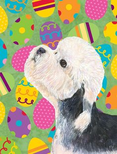 Dandie Dinmont Terrier Easter Eggtravaganza Flag Canvas House Size