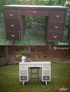 Repurposed Simply White Ombre Mid-Century Desk – Tuesday's Treasures – FunCycled Retro Furniture, Repurposed Furniture, Furniture Projects, Diy Furniture, Furniture Cleaning, Furniture Refinishing, Furniture Stores, Desk Redo, Desk Makeover
