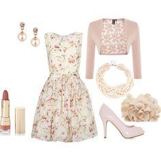Summer Chintz ~ a dainty floral dress, blush pink bolero, pink heels, and pearls.  #feminine #fashion #modest
