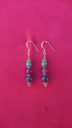 Handcrafted Sterling Silver earrings, with 6mm Turquoise and 8mm Amethyst and Lapis Lazuli beads.