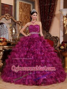 2014 Sweetheart Organza Beaded and Ruffled Quinceanera Dress in Fuchsia
