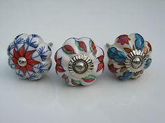 Ceramic Knob  Flower Shaped Designs Handles Pulls for Cupboards Kitchens Drawer