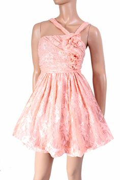 Party /Peach lace/ evening / bridesmaid /cocktail / asymmetrical dress