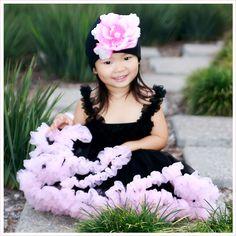 Black and Pink Pettidress | Black Tutu Dress | Black Pink Pettiskirt Dress