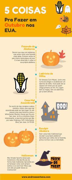 5 Coisas pra Fazer em Outubro nos EUA. Veja algumas atividades tradicionais do Outono e enjoy!  Mais detalhes no blog: www.andreasantana.com