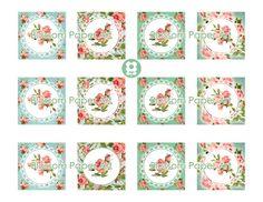 Editables Toppers Flores rosas Digital Etiquetas por blossompaperart
