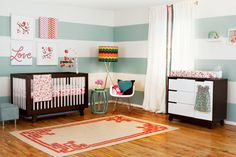This nursery was designed by Layla Grayce and was inspired by Skip Hop's Complete Sheet, the Springtime Birdie Nursery Collection.