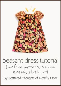 Scattered Thoughts of a Crafty Mom: Peasant Dress Tutorial w/ Free Pattern