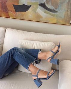 blue jeans and blue suede sandals
