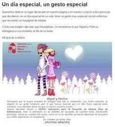 Hay gente que piensa en los demás incluso en el que será el día más feliz de su vida. Este es el caso de una pareja de novios que desea que en vez de que les den regalos de boda, ese importe lo destinen a los proyectos que tiene en marcha la Asociación para la Donación de Médula Ósea de Extremadura. [http://admo.es/un-gesto-especial.html]