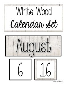 White Wood Rustic Calendar Set.  Perfect for your shabby chic classroom!  #shiplap anyone?