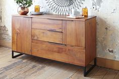 This stunning wooden Dining Buffet offers a modern style with an industrial edge. It features 2 doors and 3 drawers for great storage. Buy your buffets and dining furniture at Harvey Norman. Dining Furniture, Furniture Making, Dining Chairs, Dining Buffet, Harvey Norman, Welcome To My House, Storage Spaces, Bar Stools, Building A House