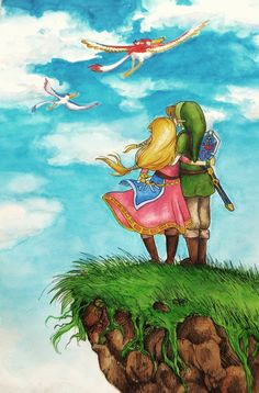 Zelda and Link watching their Loftwings - The Legend of Zelda: Skyward Sword; fan art