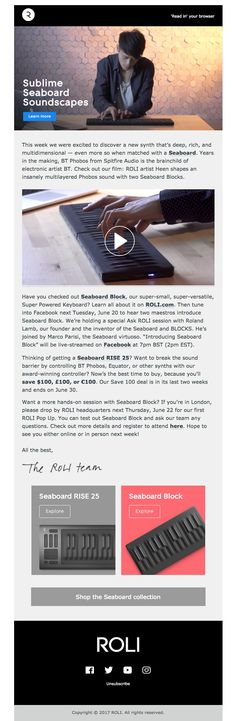 ROLI sent this email with the subject line: News from ROLI: Soundscaping with Seaboard x BT Phobos, plus a special Ask ROLI session with Roland Lamb and Marco Parisi - Read about this email and find more newsletter emails at ReallyGoodEmails.com #newsletter #music