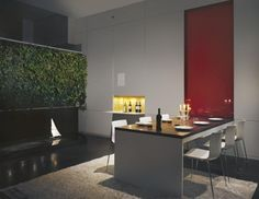 Fascinating Dynamic Interior Home Designs: Fresh Dining Room With Indoor Vertical Garden Dynamic Duplex