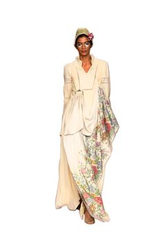 Victorian-inspired off white pure Eri Ahimsa silk gown with woven floral print from designerstown.com