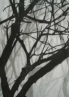Helen Mueller,    'Requiem Study 7' 2013,    woodblock print, overlayed - unique,  38 x 26cm