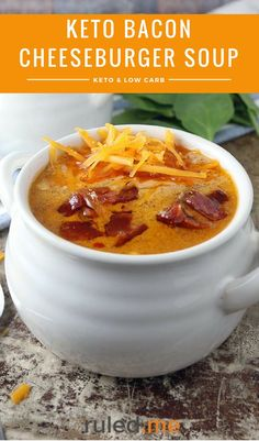 A keto bacon cheeseburger soup that is great for lunch, dinner or as a side with a salad. #ketodiet #ketogenicdiet #ketorecipes