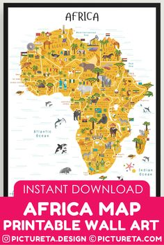 Africa Map printable map will make a perfect kids décor in playroom or classroom. Inspire your child to learn facts about Africa. Africa geography is fun with Pictureta's Map of Africa. Learn about African countries, African landmarks, African animals, African cuisine and African natural resources. DOWNLOAD AND PRINT AT PICTURETA.COM | Geography for Kids, Africa Poster for Kids, Africa poster, Africa Safari, Africa Art, Africa Travel, African Décor, African Print, Africa Map Printable…