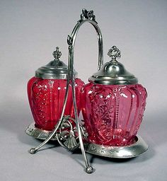 *RARE ~ Victorian Double Pickle Caster with the Cranberry Panel Sprig glass inserts by NORTHWOOD.  The metal was made by Rogers smith and Co. of New Haven Conn., c. 1900.