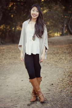 Cardigan, leggings, and aeo riding boots outfit