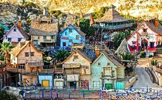 Popeye village in Malta. This village was created for the Robin William's movie of Popeye and is now a tourist attraction...
