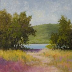 """This piece is inspired by a photo I took a couple of summers ago while plein air painting.  We were at Raccoon Mountain and the Tennessee River runs right next to it.   ©2012 Paula Ann Ford, Tennessee River View, Oils on Raymar panel, 6""""x6"""""""