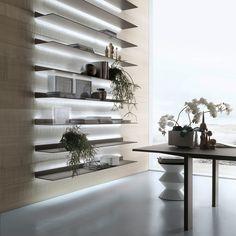 mensole Eos struttura alluminio brown e vetro laccato opaco caffè.