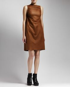 Ruched Leather Dress, Honey by Rick Owens at Neiman Marcus.