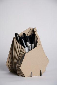 Cardboard pen cup
