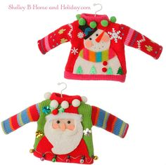 Shelley B Home and Holiday - RAZ Tinsel Tangle Christmas Sweater Ornament S2, $15.00 (http://shelleybhomeandholiday.com/raz-tinsel-tangle-christmas-sweater-ornament-s2/)